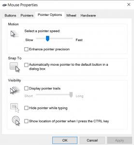DPI menu van windows