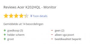 Goedkoopste computer monitoren - Acer K202HQL review