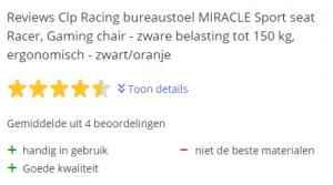 CLP racing bureaustoel Miracle sport seat racer, zware belasting tot 150 kg
