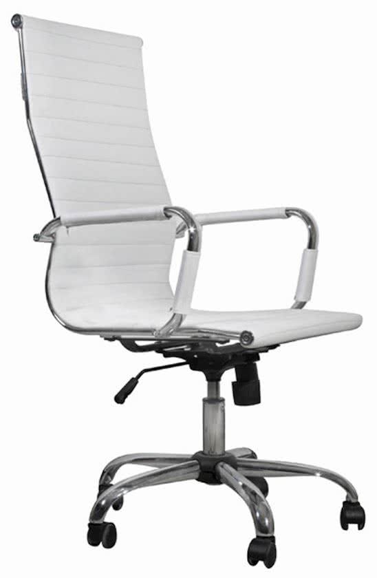 vidaXL - Bureaustoel Bureaustoel vlak wit hoge leuning