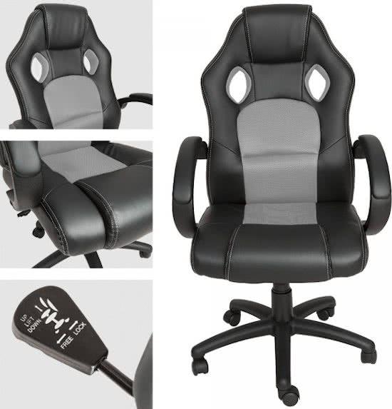 Luxe design bureaustoel racing style grijs zwart gaming bureaustoel
