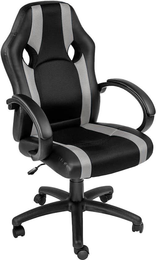 TecTake - bureaustoel Benjamin, zwart-grijs, comfortabel, racing style - 402162