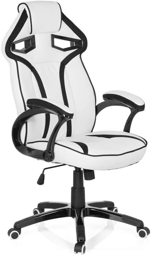 hjh office Guarian Pu gaming bureaustoel Leder - Wit / zwart