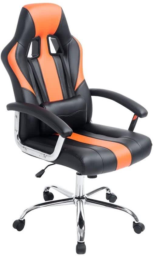 Clp Racing bureaustoel - Sport seat racer OLYMP - Gaming chair - zware belasting, ergonomisch - zwart/oranje