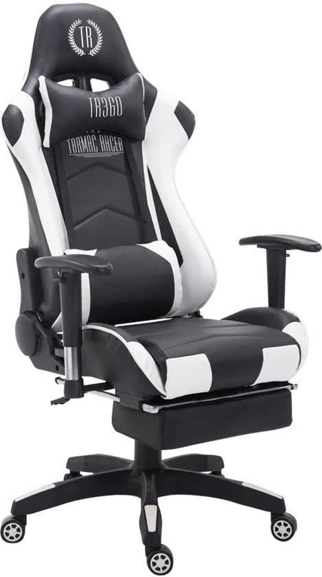 Clp Managerstoel TURBO directiestoel, Gaming chair met voetsteun, hoogte verstelbaar, ergonomisch, belastbaar tot 150 kg - zwart/wit