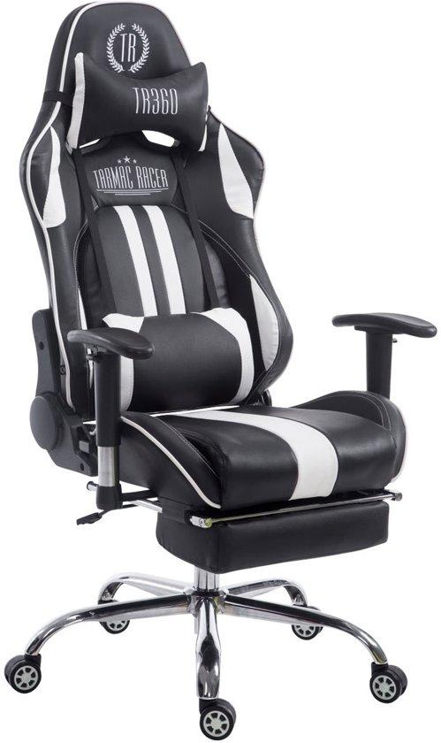 Clp Racing bureaustoel LIMIT XL, gaming stoel, max. belasting 150 kg, kunstleer - zwart/wit, met voetsteun