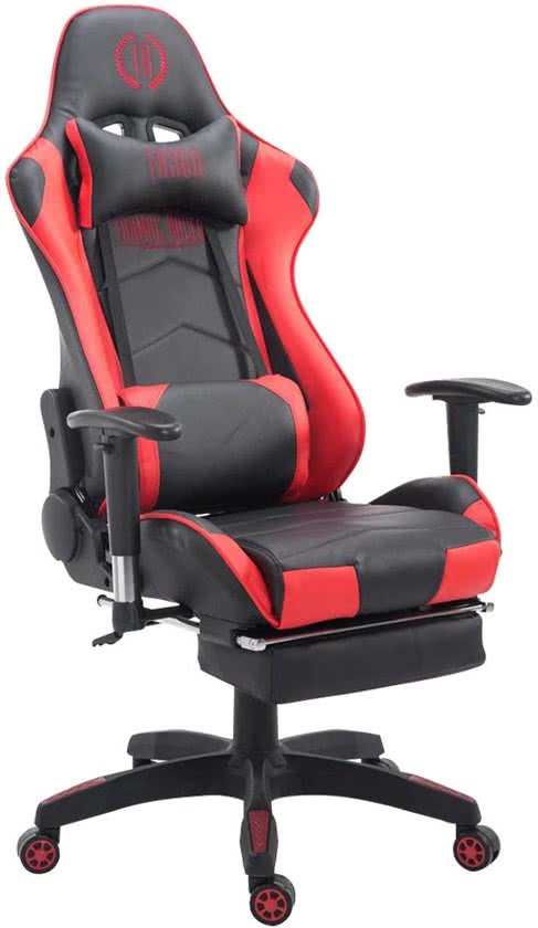 Clp Managerstoel TURBO directiestoel, Gaming chair met voetsteun, hoogte verstelbaar, ergonomisch, belastbaar tot 150 kg - zwart/rood