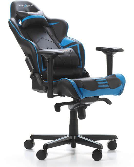 DXRacer Racing Pro Gamestoel & Bureaustoel - Zwart met Blauw PU Leder